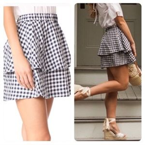 Madewell gingham tier navy miniskirt large